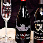 engraved wine glasses and bottles